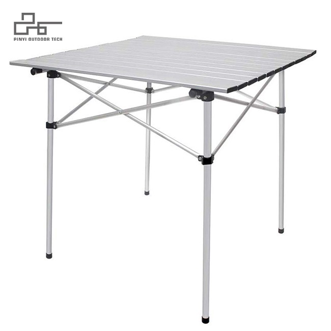Aluminum Folding Square Table Roll Up Top