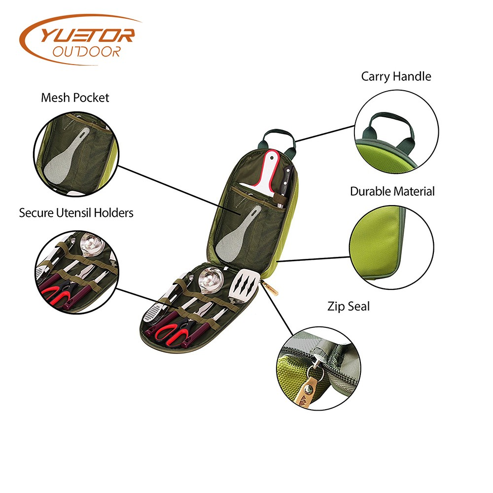 8-Piece Portable Camping Kitchen Utensil Organizer Set