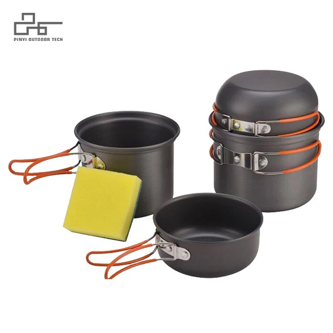 Camping Cookware With Mesh Bag for 3-4 Person