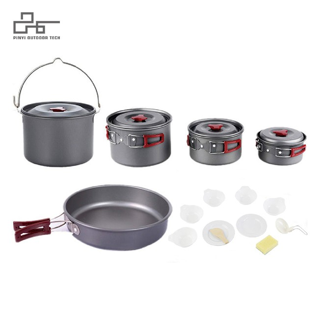 16pcs Lightweight Hard Anodized Camping Cooking Gear