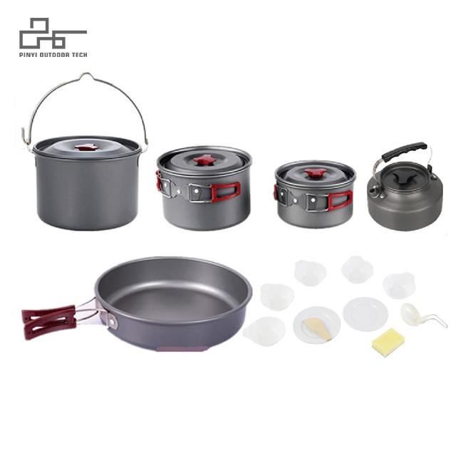 Anodized Aluminum Camping Cookware Set For 6-7 Person