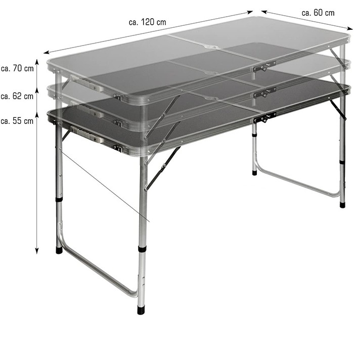 4-person Portable Aluminium Camping Picnic Table - Hand Held