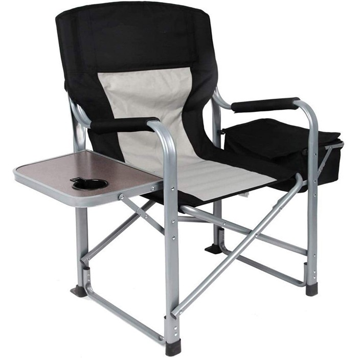 Heavy Duty Steel Camping Folding Director Chair with Cooler Bag and Side Table