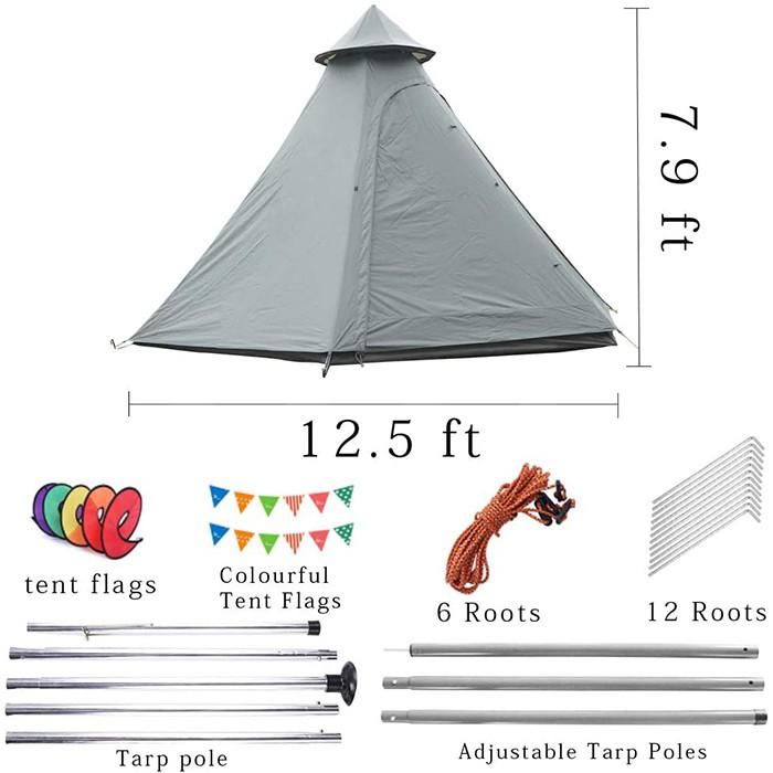 5-6 Person 4 Season Double Layers Waterproof Anti-UV Windproof Tents