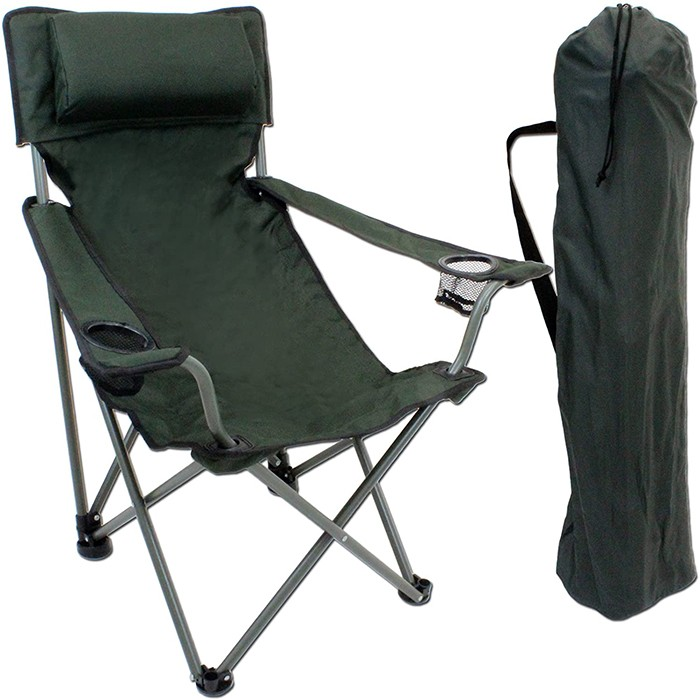 Luxury Foldable Camping-Chair with Drink-Holders and Arm-Rests