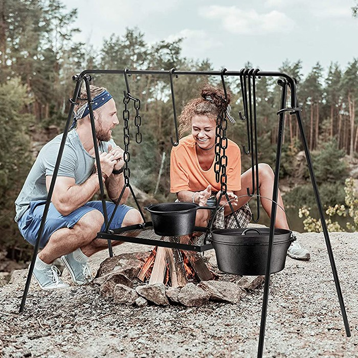 Grill Swing Campfire Cooking Stand With BBQ Grill