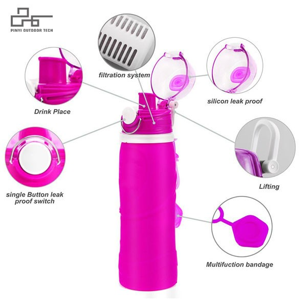 Silicone Collapsible Water Bottles with Water Purifier
