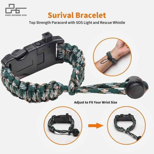 SOS LED Survival Paracord Bracelet Adjustable