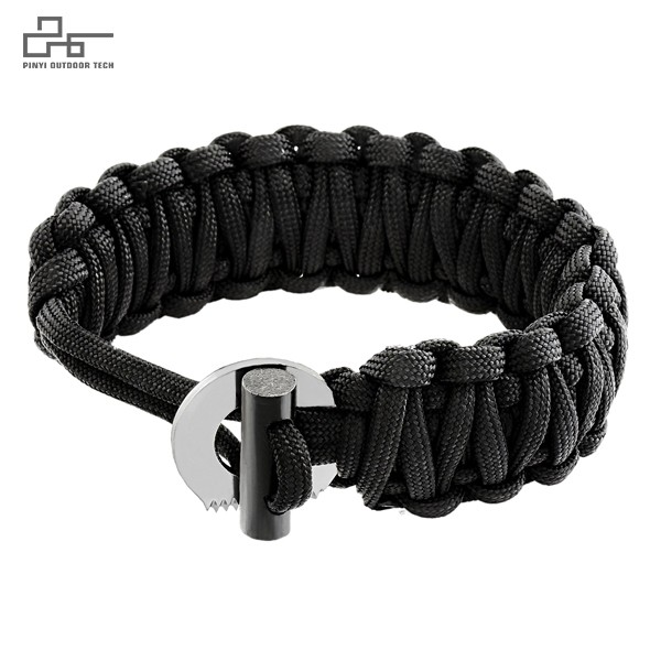 Survival Paracord Bracelet with Firestarter and Striker Cutter