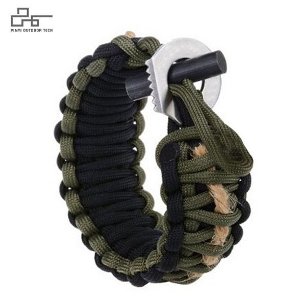 Survival Paracord Bracelet with Firestarter and Striker Cutter