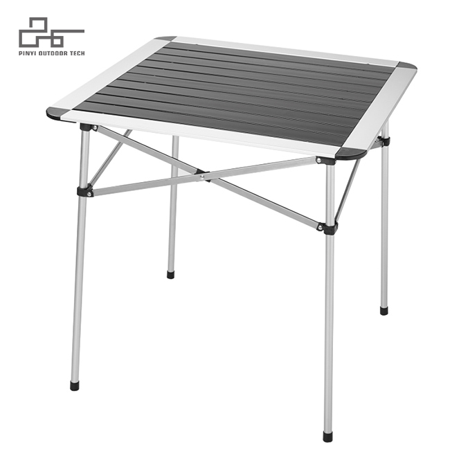Stable Aluminum  Square Table Roll Up Top