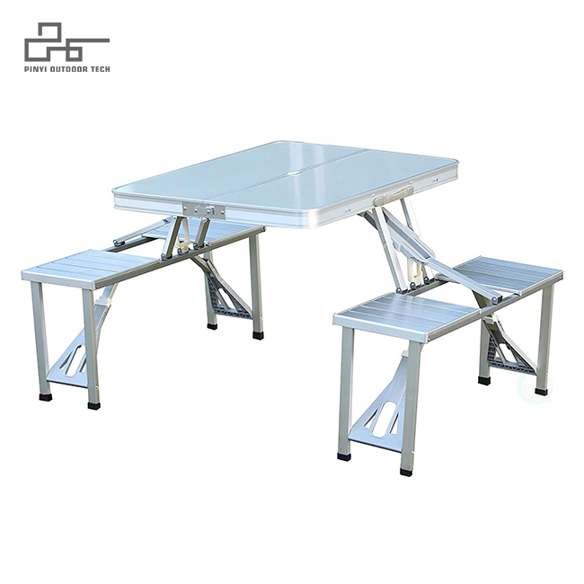 Aluminum Camping Picnic Table With Chairs And Umbrella Hole